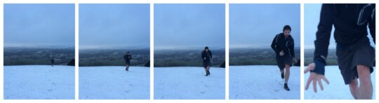 Tom running to the top of a snowy hill photo collage