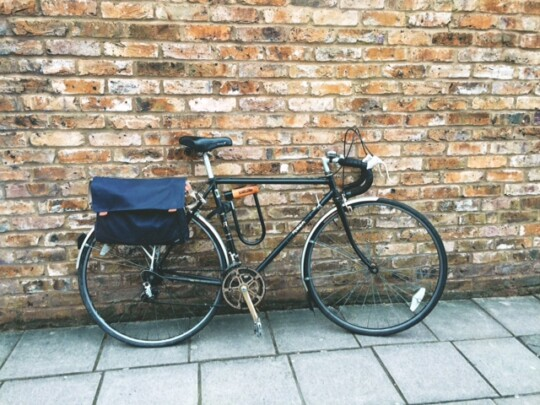 Old Raleigh road bike with pannier