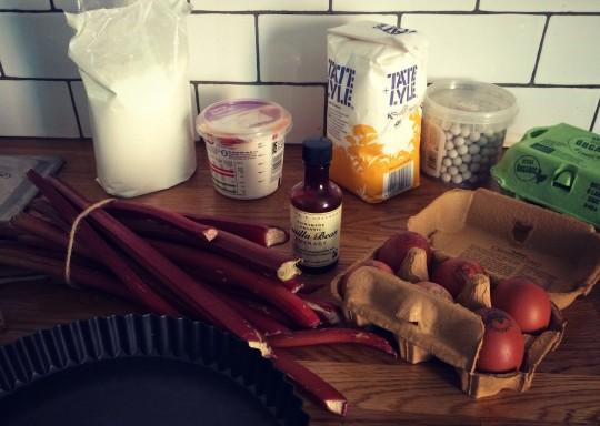 Ingredients for an easy rhubarb tart