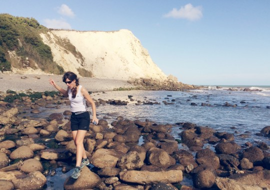 Rock hopping at Woody Bay, Isle of Wight