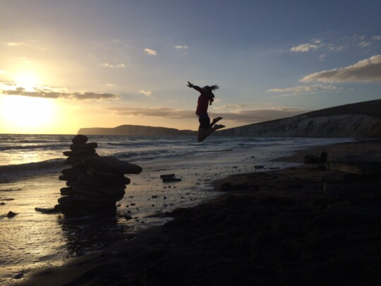 Rusty jumping at Compton Beach